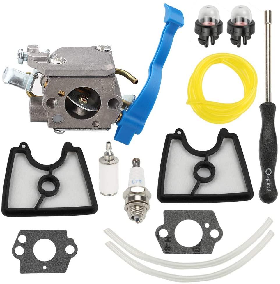 Wellsking 545081811 Carburetor Compatible with Husqvarna 125B 125BX 125BVX 28CC 170 MPH Leaf Blower 590460102 with 545112101 C1Q-W37 Air Filter Adjustment Tool Repower Kit