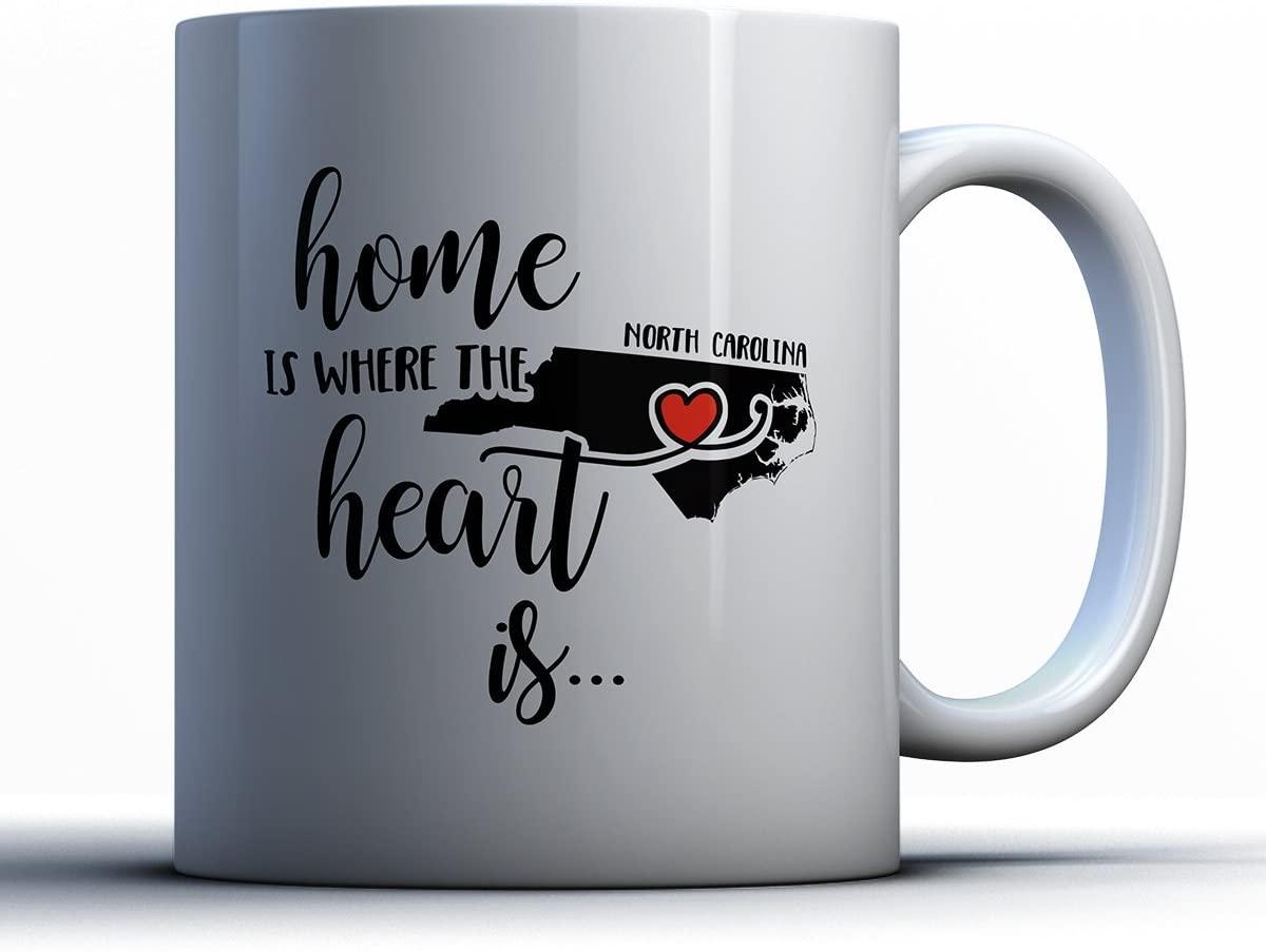 North Carolina Coffee Mug - North Carolina Is Where The Heart Is - Adorable 11 oz White Ceramic Tea Cup - Cute North Carolinian Gifts with North Carolina Sayings