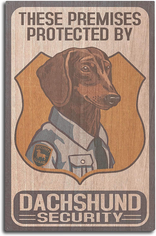 Lantern Press Dachshund Security - Dog Sign (10x15 Wood Wall Sign, Wall Decor Ready to Hang)