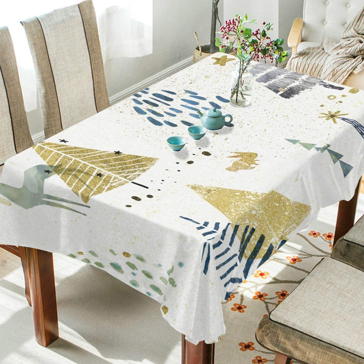Rectangle Tablecloth Christmas Tree and Animal Washable Spill Proof Table Cloth Dust-Proof Table Cover for Kitchen Dining Room Party Tablecovers Spread Home Decoration 60 x 108 Inches