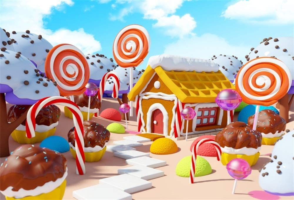 AOFOTO 7x5ft Kids Lollipop Candyland Photo Backdrop Vinyl Wallpaper Newborn Baby Sweet Cake Snow Covered House Candy World Cupcakes Photography Background Birthday Party Decor Photo Studio Props