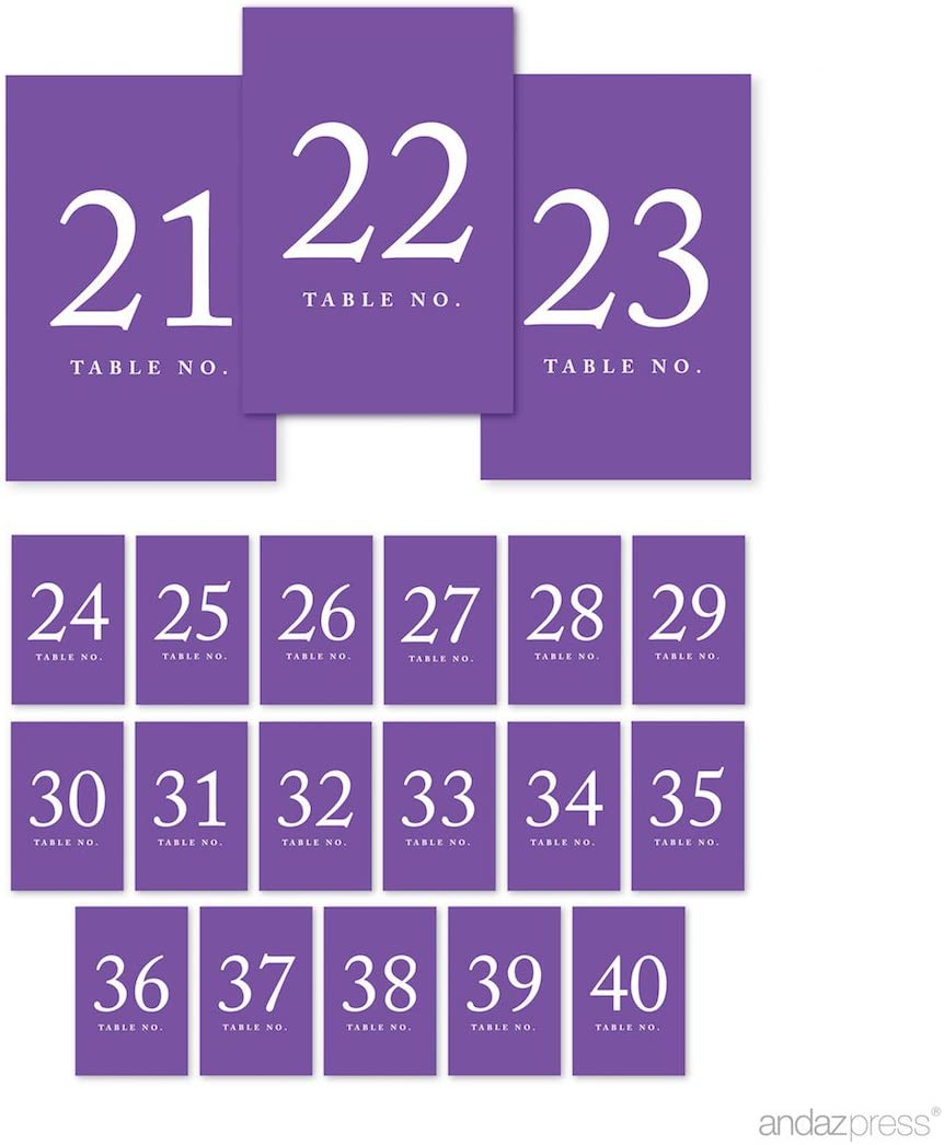Andaz Press Table Numbers 21-40 on Perforated Paper, Purple, 4x6-inch Single Sided Sign, 1-Set, for Weddings, Graduation