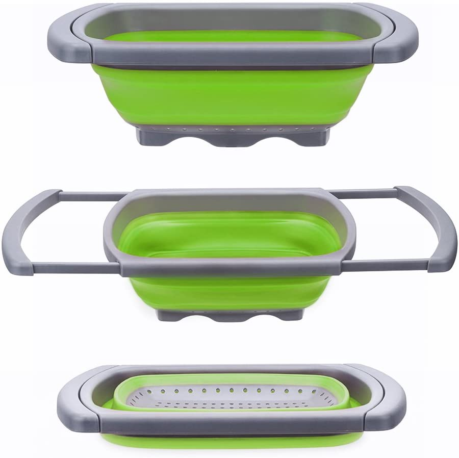 Glotoch Kitchen Collapsible Colander, Over The Sink Strainer With Steady Base For Standing, 6-quart Capacity, Dishwasher-Safe,BPA Free (Green&Grey)