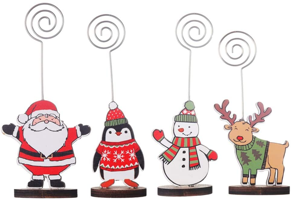 Happyyami 4pcs Place Card Holders Christmas Santa Reindeer Table Number Stands Wood Name Photo Clip Holder for Xmas Party Decoration