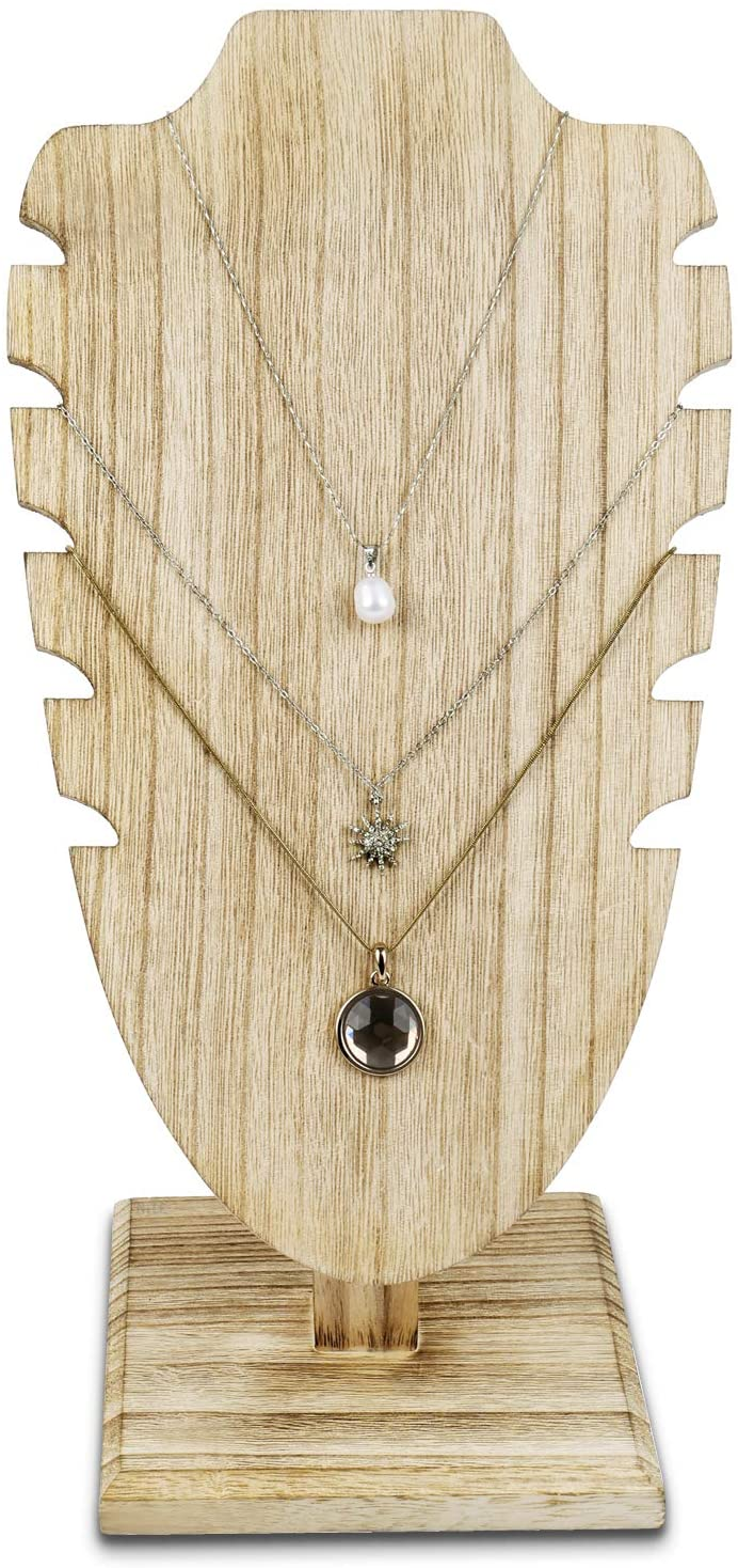 """Mooca Freestanding Necklace Easel Display Stand Holder Multiple Necklace Bust, Adjustable Slope Jewelry Showcase Stand for 6 Necklaces, 7""""W x 5 1/2""""D x 13 3/4""""H, Oak"""