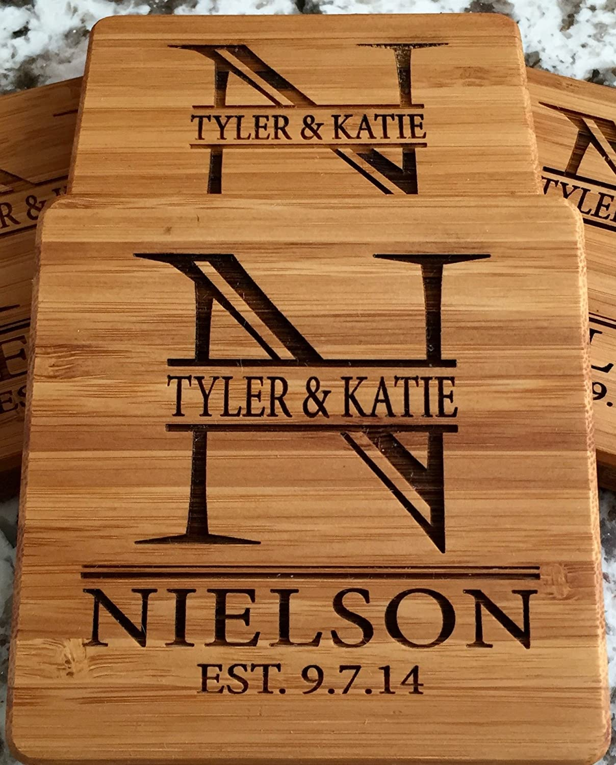 Personalized Wedding Gifts and Bridal Shower Gifts (Nielson Design) - Set of 2 Monogram Customized Wooden Coasters