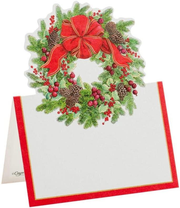Caspari Evergreen Wreath Die-Cut Place Cards, 40 Included