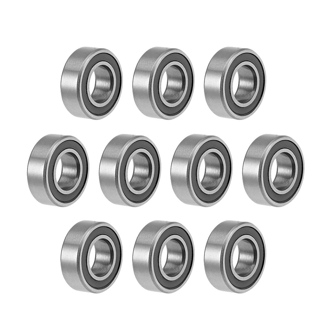 uxcell MR126-2RS Deep Groove Ball Bearings 6mm Inner Dia 12mm OD 4mm Bore Double Sealed Chrome Steel Z2 10pcs