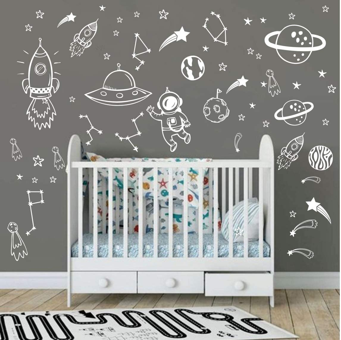 Wall Decor for Boys Room Art Outer Space Star Rockets Planets Stickers Removable Space Wall Decal for Children Bedroom Decoration (White)