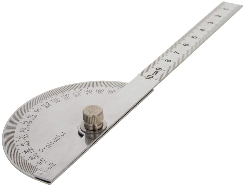 Utoolmart Anger Finder 10cm Straight Head Stainless Steel Protractor Adjustable General Measuring Goniometer 180 Degrees Ruler Tool