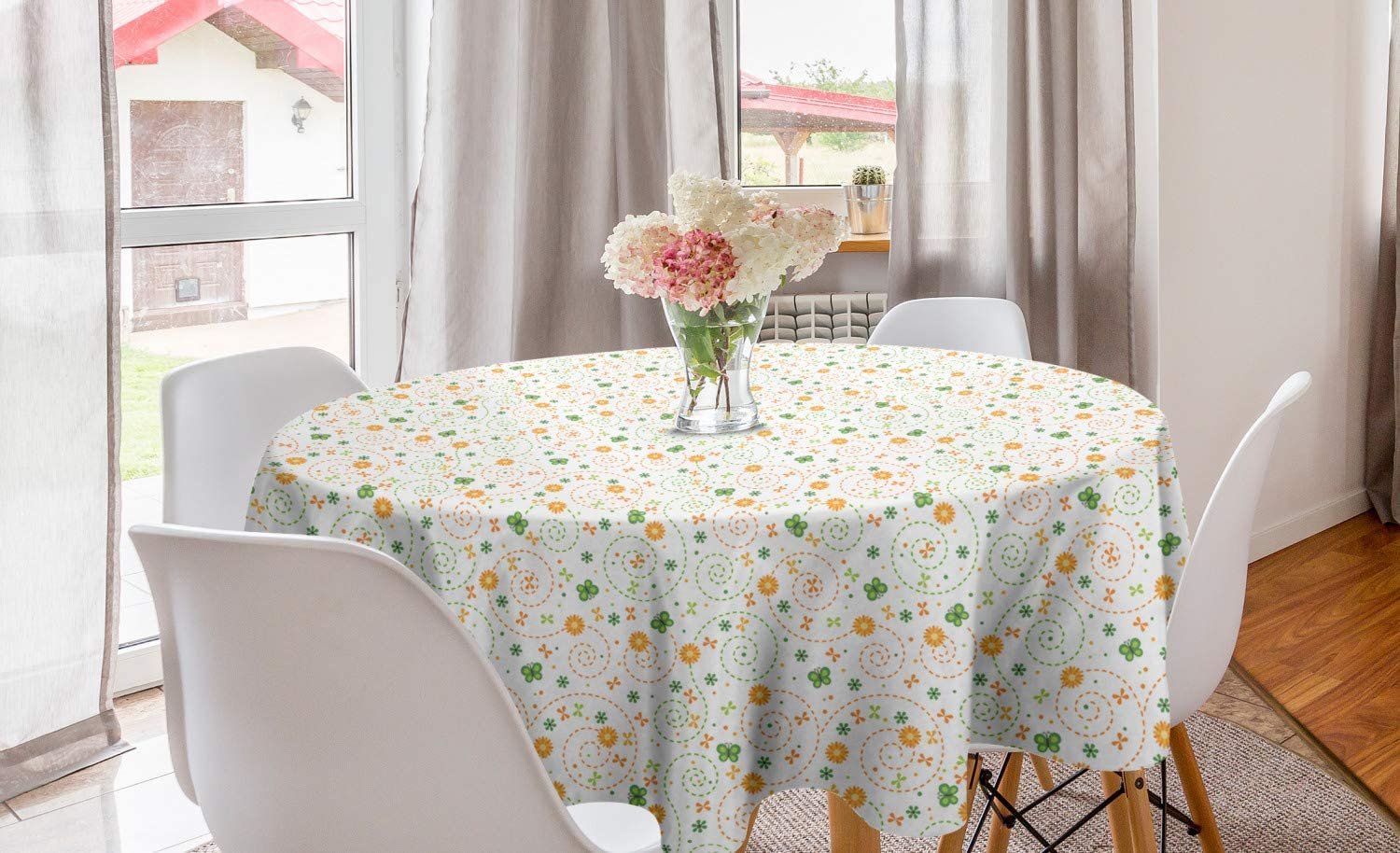 Lunarable Spring Round Tablecloth, Childish Pattern with Butterfly and Flowers, Circle Table Cloth Cover for Dining Room Kitchen Decoration, 60