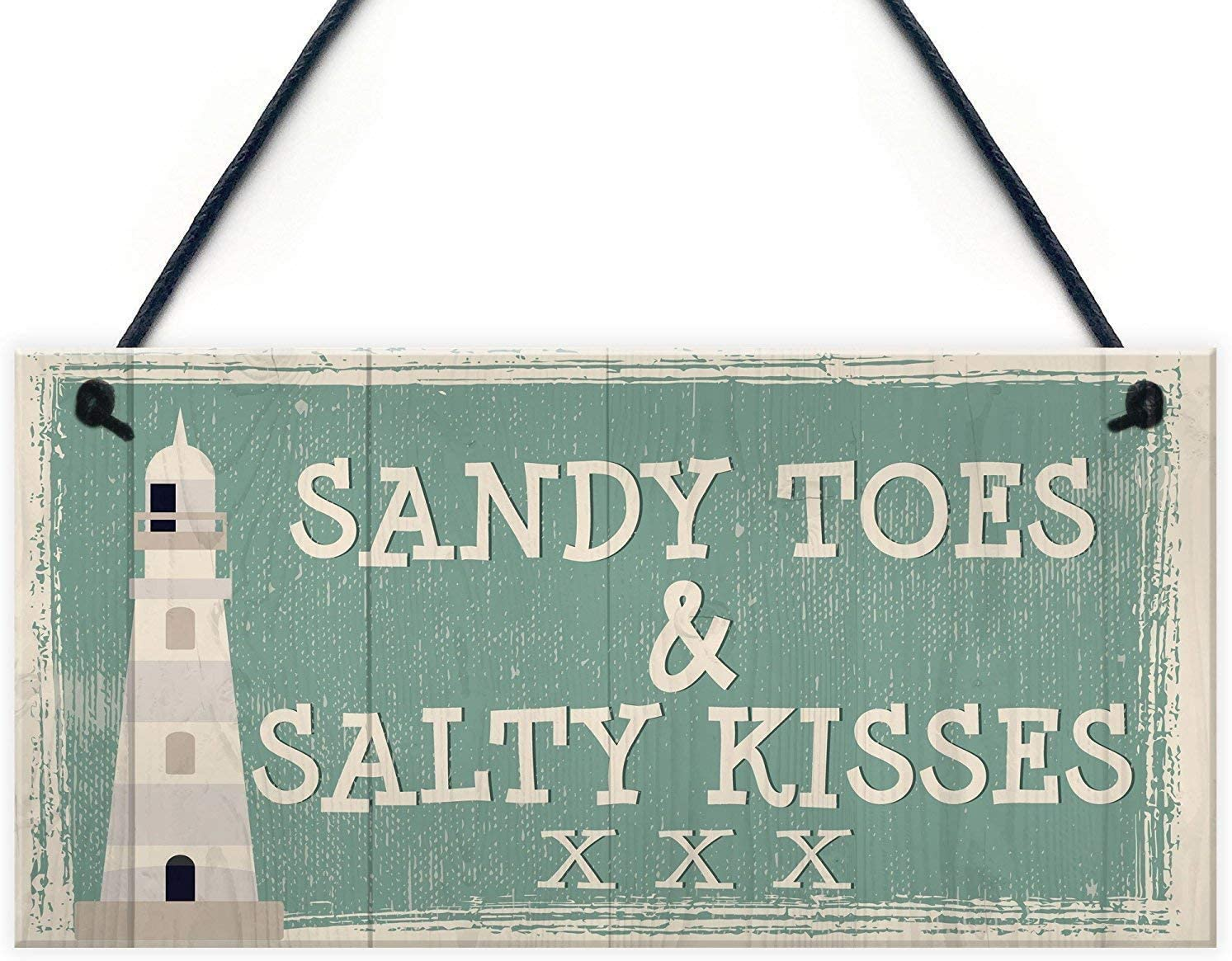 INNAPER Sandy Toes and Salty Kisses Shabby Chic Seaside Sand Lighthouse Nautical Themed Wood Plaque Signs Home Decor Gifts 12x6(49BW1917)