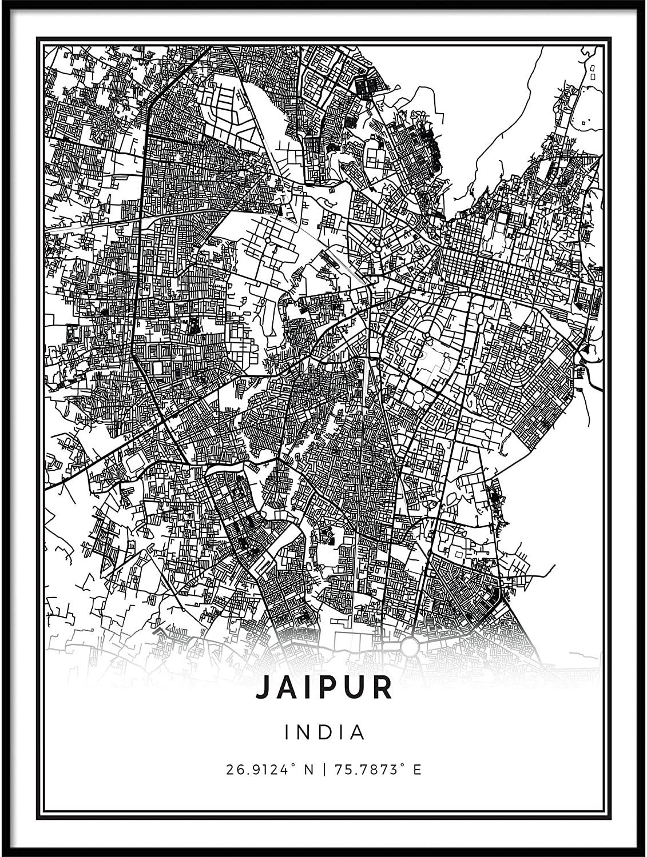 Squareious Jaipur map Poster Print | Modern Black and White Wall Art | Scandinavian Home Decor | India City Prints Artwork | Fine Art Posters 16x20