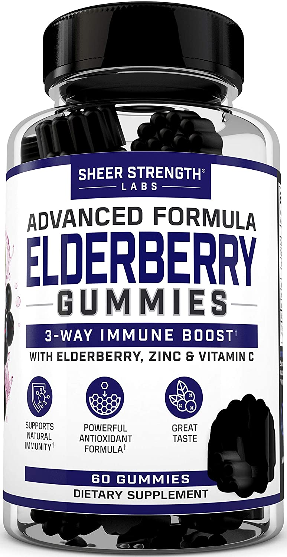 Sheer Sambucus Elderberry Gummies with Vitamin C & Zinc for 3-Way Support - Natural Daily Black Elderberry Gummy Supplement with Powerful Extra Strength Formula - Vegan & Gluten Free - 60 Gummies