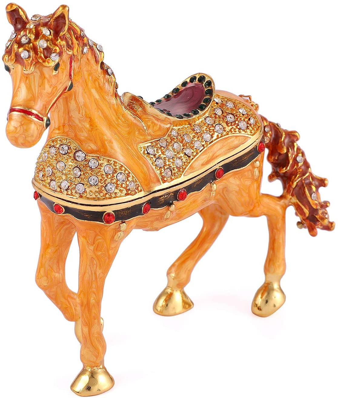 QIFU Vintage Style Hand Painted Horse Shape Jewelry Trinket Box With Rich Enamel And Sparkling Rhinestones | Unique Gift Home Decor | Best Ornament Your Collection
