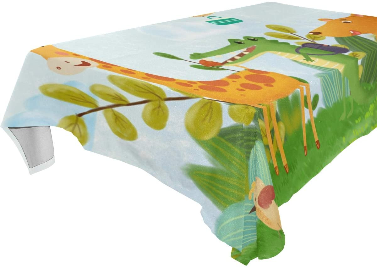 PIMILAGU Tablecloth Rectangle Wrinkle Resistant Contemporary Cover 60 x 90, Easy Care Dinning Table Cover Waterproof Oil-Proof Spill-Proof Durable Tablecloth (Animals Going to School)