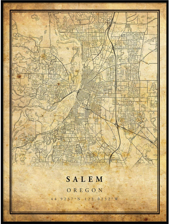 Salem map Vintage Style Poster Print | Old City Artwork Prints | Antique Style Home Decor | Oregon Wall Art Gift | map Prints 24x36