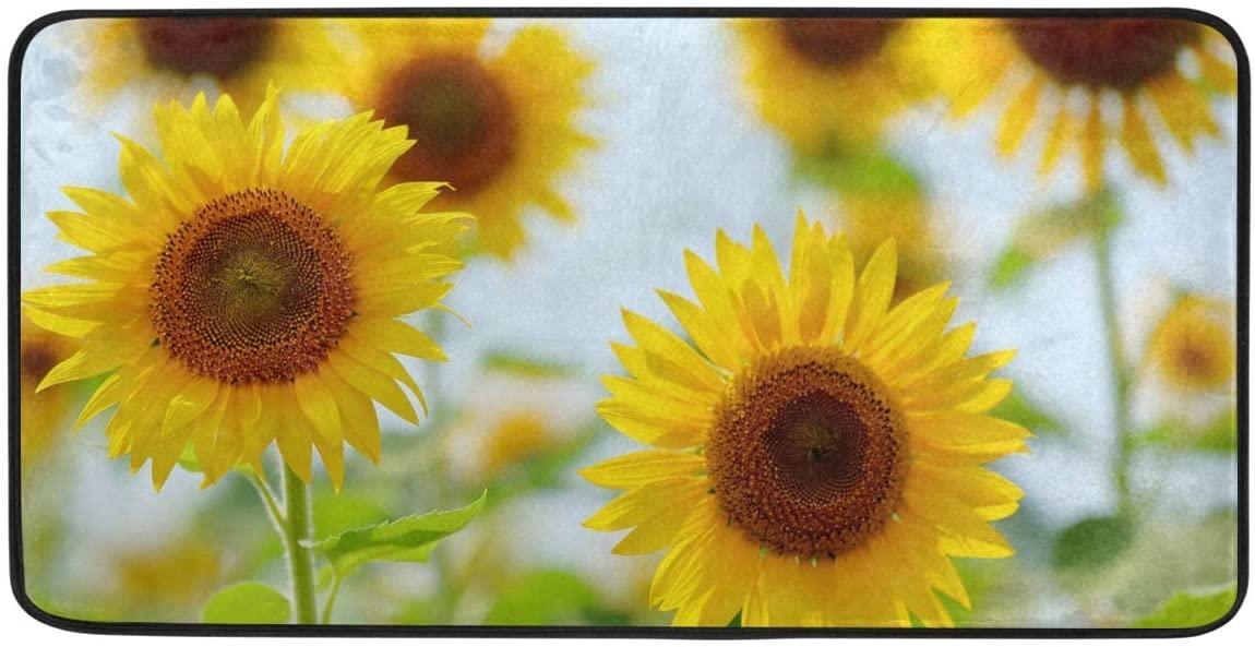 CiCily Doormat Area Rug Mat Sunflower for Bedroom Front Door Kitchen Indoors Home Decors