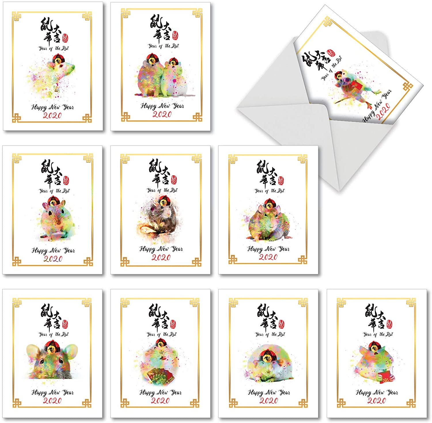 Year of the Rat 2020 - 10 Boxed Chinese New Year Cards with Envelopes (4 x 5.12 Inch) - 2020 New Years Note Cards - Cute Rat Watercolor Painted Artwork AM7107CNG-B1x10-19