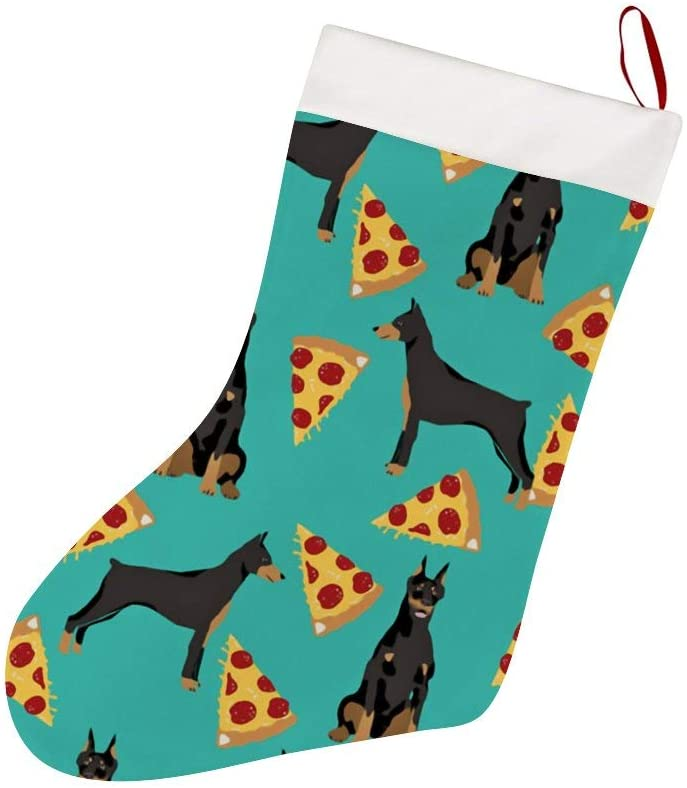 Thewar Doberman Pinscher Turquoise Pizza Christmas Stockings Personalized Xmas Stockings Hanging Ornaments Candy Gift Bags for Family Holiday Xmas Party Decorations