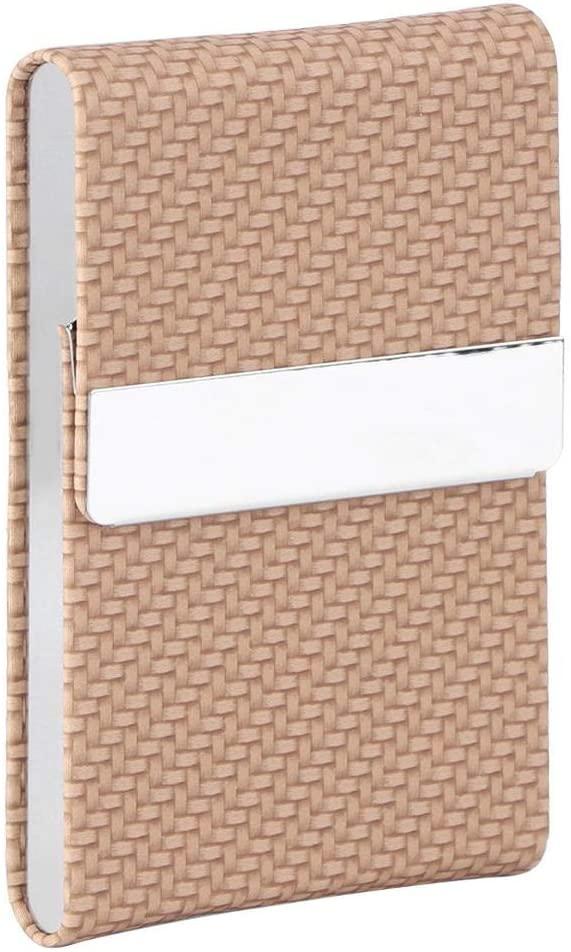 VIFER Business Card Case Fashionable Cigarette Case Business Card Storage Box PU Leather Business Card Organizer(Apricot)