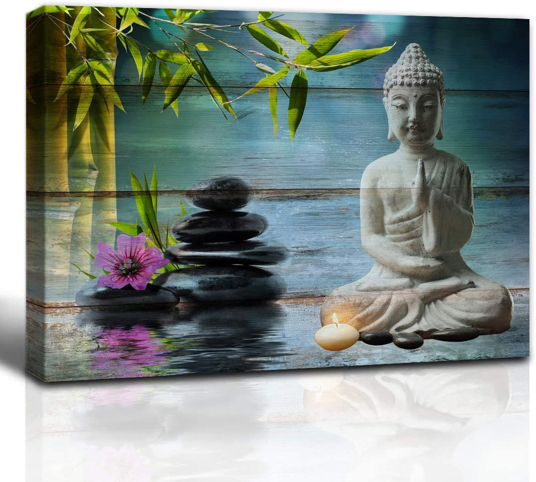The Melody Art Zen Garden Buddha Statue Purple Flower Bamboo and Black Rock on Wooden Texture Pictures Canvas Wall Art 12x16 inch, Framed, 1 Panel