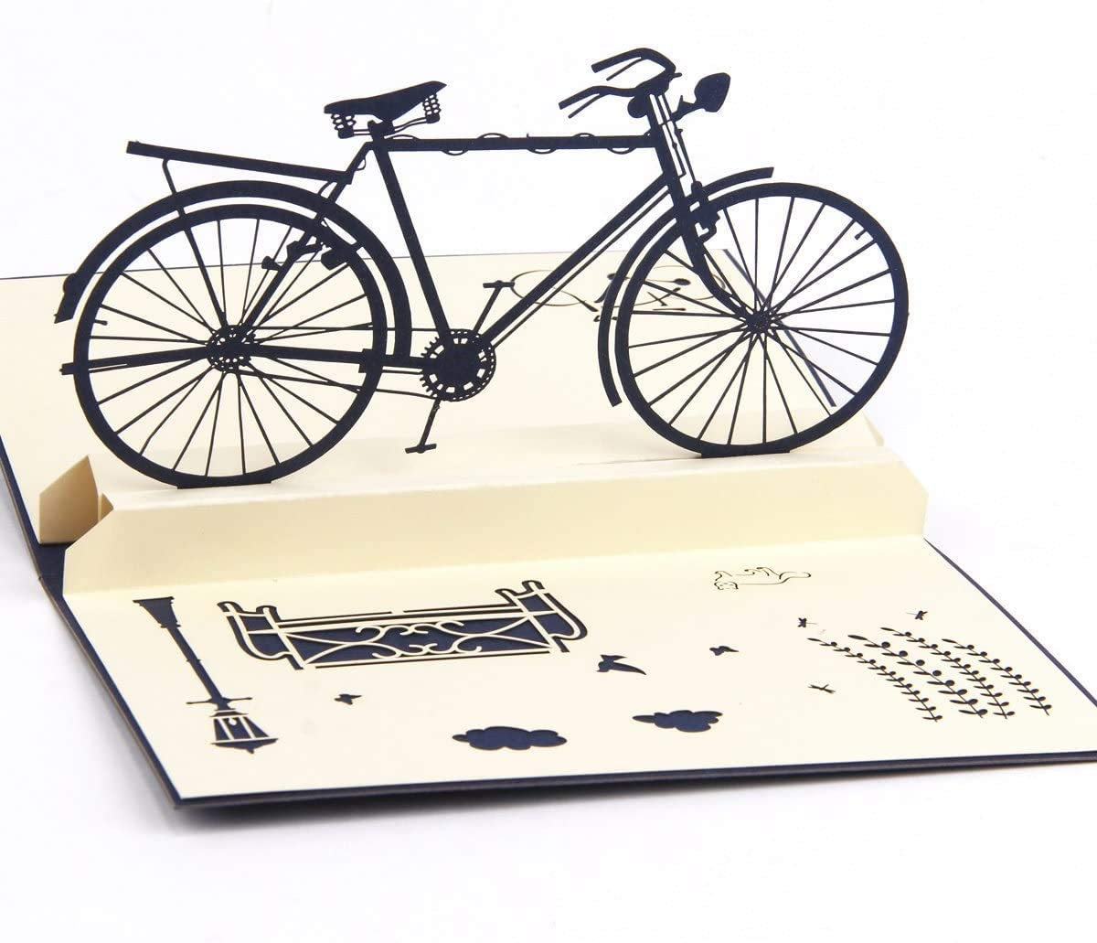 Handmade 3D Pop Up Cards Greeting Card for Your Loved Ones, Wedding Anniversary Card for Couple, Valentine Day, Happy Birthday Cards (Bicycle)