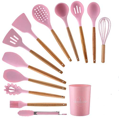 Kitchen set silicone 12 + 1 kitchenware, spatula set, for non stick cookware,With wooden handle and bracket , kitchen tools and gifts (pink)