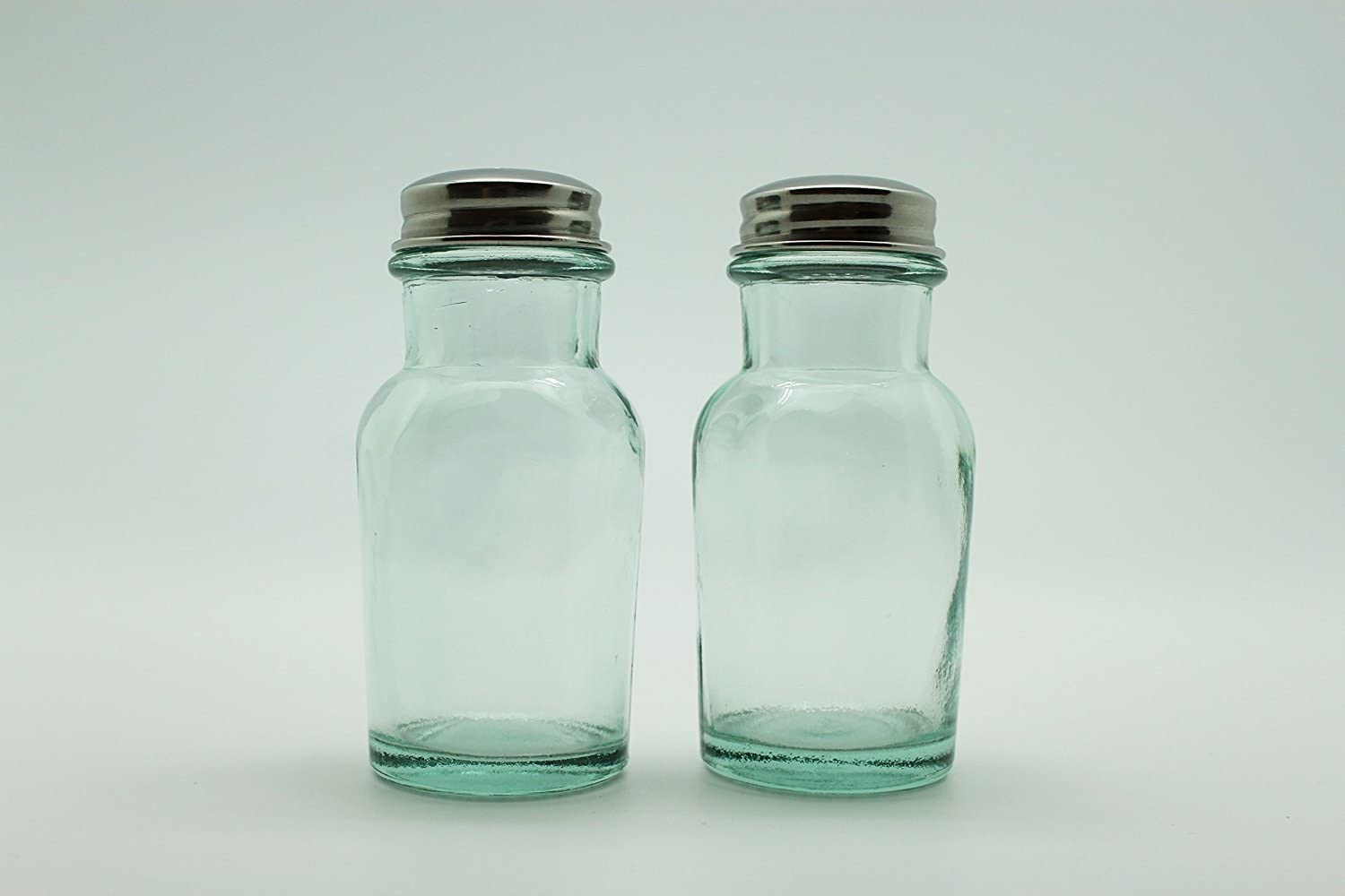 Eco Living Recycled Glass Salt and Pepper Shaker Set Round Top