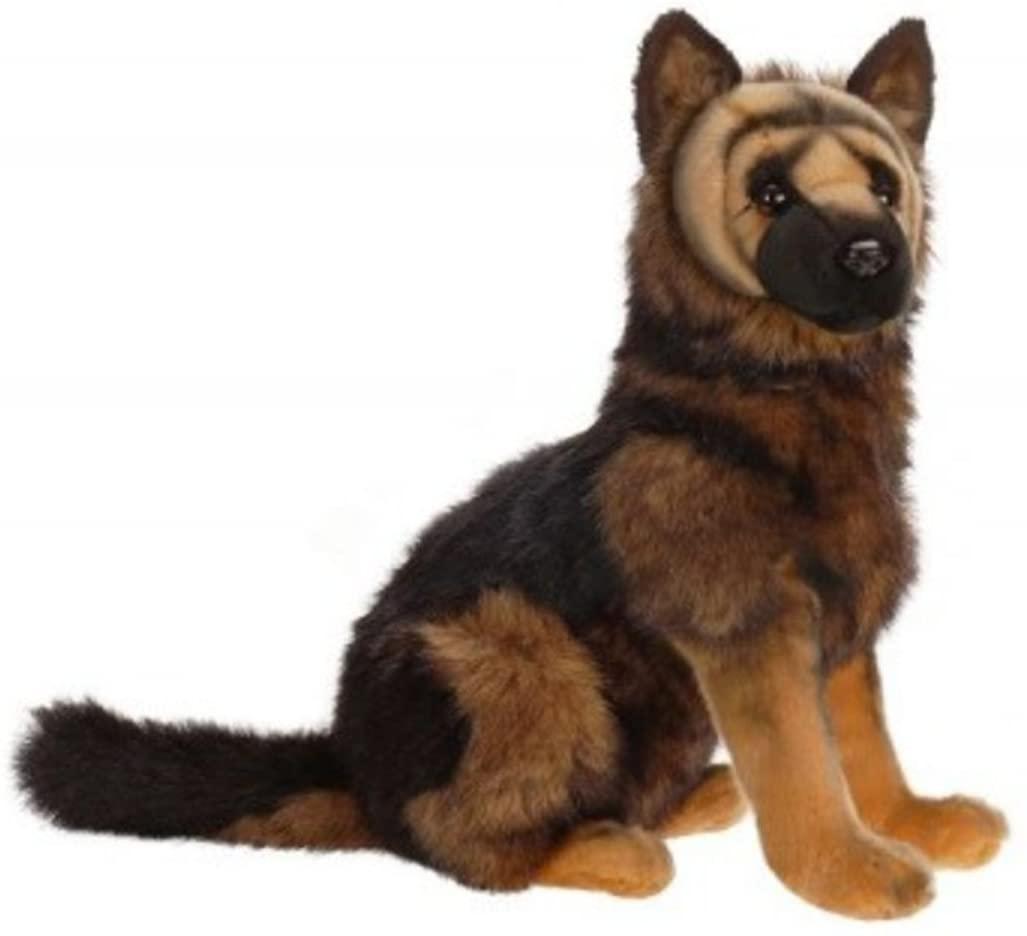 Set of 2 Lifelike Handcrafted Extra Soft Plush German Shepherd Puppy Dog Stuffed Animals 16
