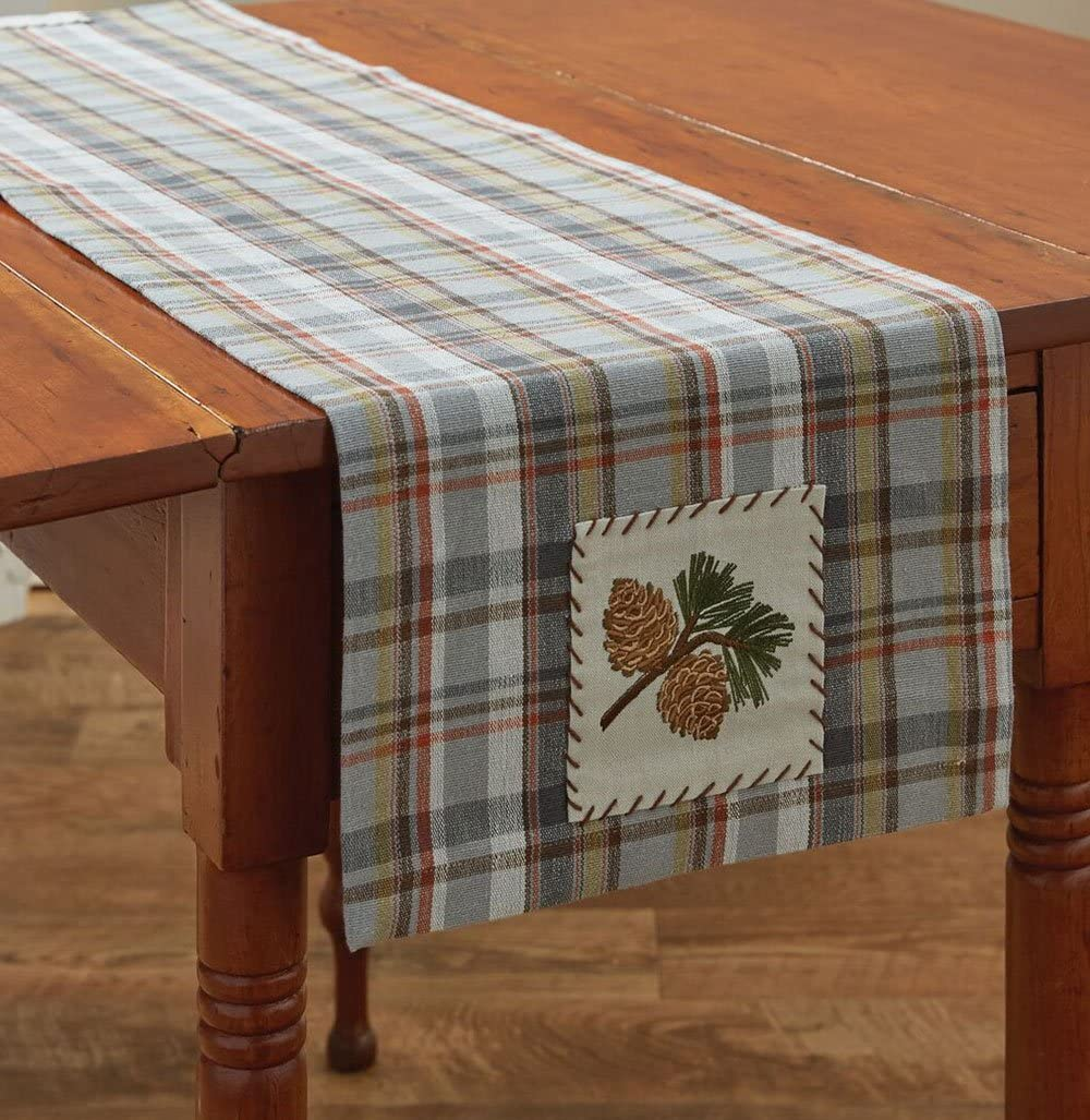 Park Designs Holiday Pinecroft Embroidered Christmas and Winter Harvest Fabric Table Runner - 54