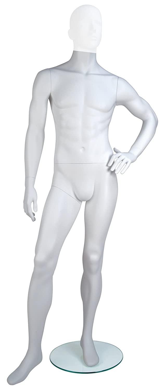 Econoco GEN-3-HL Male Mannequin, Headless, Left Hand on Hip, Left Leg Slightly Forward, True White