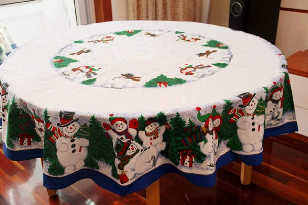 MZPRIDE Cute Snowman Christmas Tablecloth Pine Tree Christmas Table Cloths 69''-ROUND