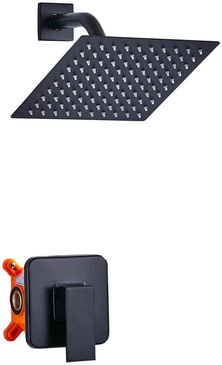 GGStudy Single Function Shower Trim Kit with Rough-in Valve Shower Set Bath Rainfall Shower Faucet System 8inch Square Stainless Steel Metal Shower Head Matte Black