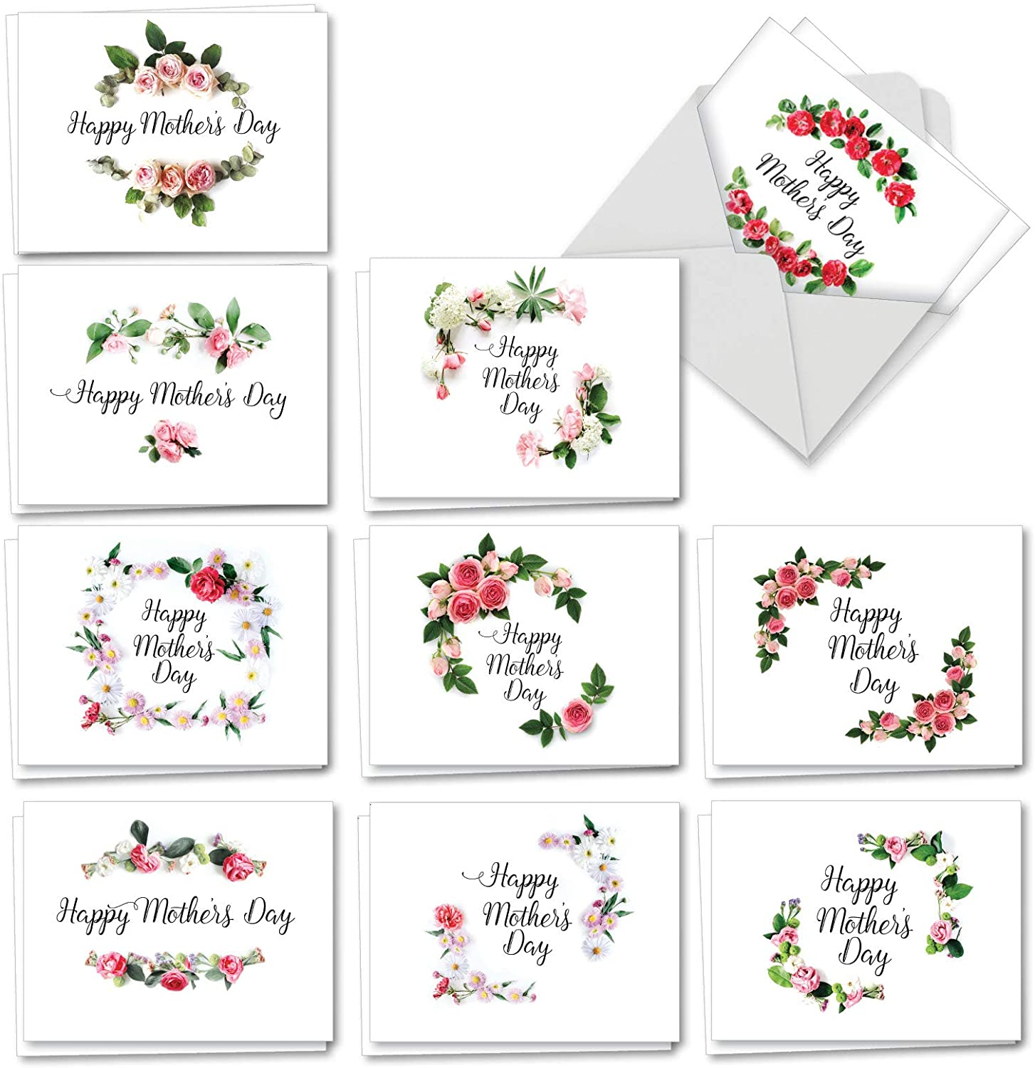 The Best Card Company - 20 Mother's Day Cards Bulk (4 x 5.12 Inch) - Loving Small Note Card Set - Elegant Flowers AM4175MDG-B2x10