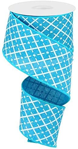 Turquoise Blue White Silver Glittered Argyle Wired Ribbon 2.5 X 10 Yards