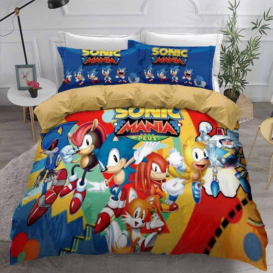 Jacrarr Sonic The Hedgehog Game Duvet Cover Set for Kids Boys Cute 3D Cartoon Printed Soft Microfiber Bedding Set 1 Duvet Cover+1 Pillowcase, Twin Size