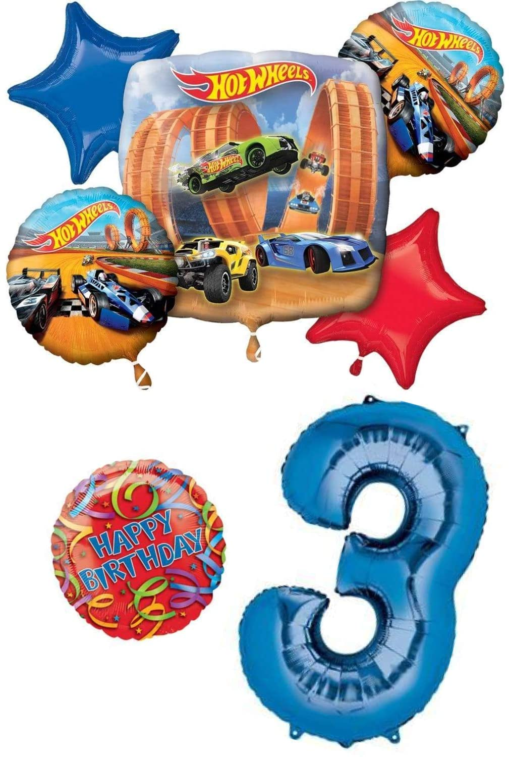 This Sweet Earth Hot Wheels Race Cars Happy Birthday 3 Year Old 3rd Birthday Balloon Party Decoration Bundle