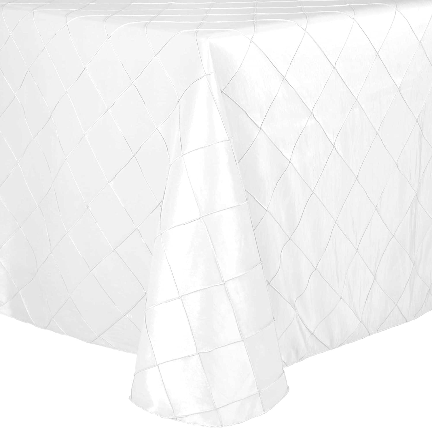 Ultimate Textile -5 Pack- Embroidered Pintuck Taffeta 52 x 70-Inch Oval Tablecloth White