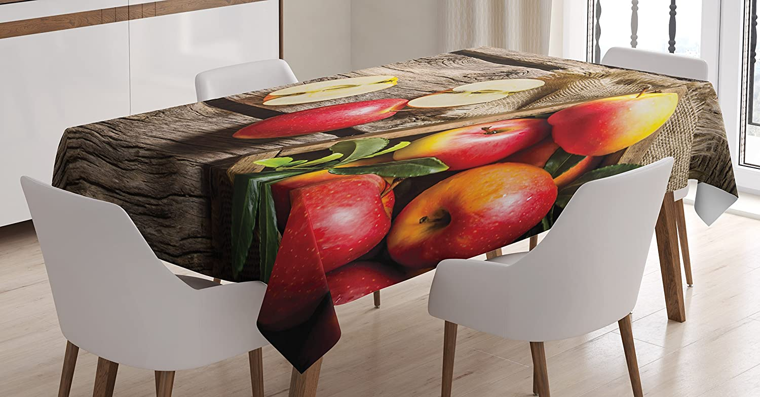 Ambesonne Fruits Tablecloth, Box of Apples in on Wood Floor Penal Rusty Organic Nutrition Vitamin Harvesting, Rectangular Table Cover for Dining Room Kitchen Decor, 60