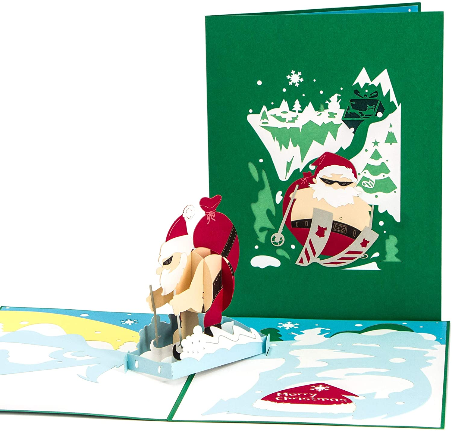 Ribbli Christmas Skiing Handmade 3D Pop Up Card,Greeting Card,Christmas Card,Funny Card,Santa Card,Skiing Card,with Envelope