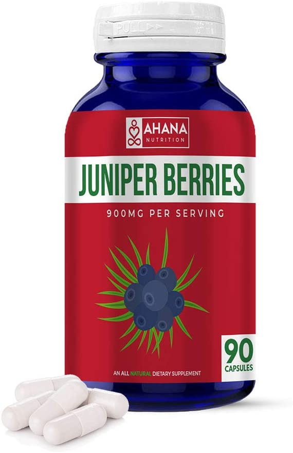 Juniper Berries Supplement by Ahana Nutrition - Juniper Berry Extract to Assist with Digestive Health, Urinary Tract Health and Kidney Support* (900mg – 90 Capsules)
