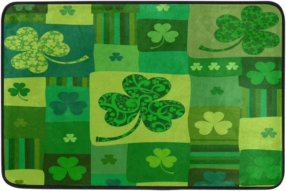 St.Patrick's Day Decoration Doormat Home Decor Green Floral Clover Shamrock Good Luck Leaf Welcome Indoor Outdoor Entrance Bathroom Floor Mats Non Slip Washable Hoilday Pet Food Mat, 24x16 inch