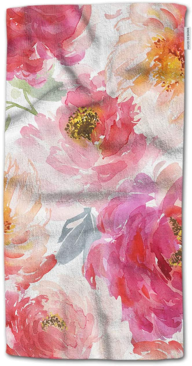 HGOD DESIGNS Hand Towel Flower,Watercolor Peonies Flower and Leaves Pattern Pink and Red Hand Towel Best for Bathroom Kitchen Bath and Hand Towels 30