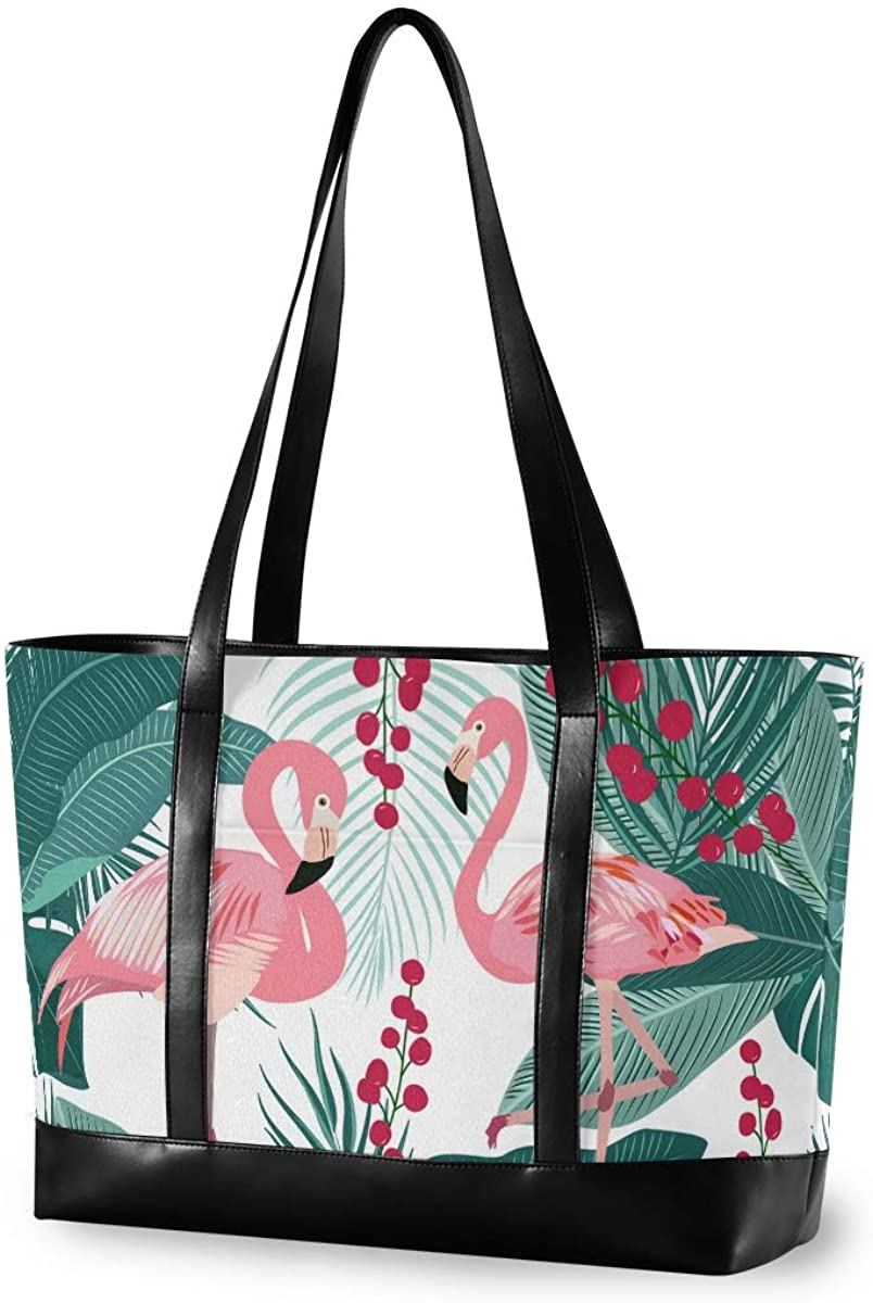 Flamingo With Leave Laptop Tote Bag for Woman 15.6 inch Laptop Organizer Bag Teacher Work Purse(912f)