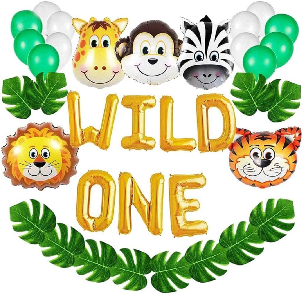 36pcs Wild One Birthday Decorations Set Jungle Themed Animal Head Shape Balloons, Artificial Palm Leaves, Foil Balloon Baby Shower Balloons Birthday Party Decoration