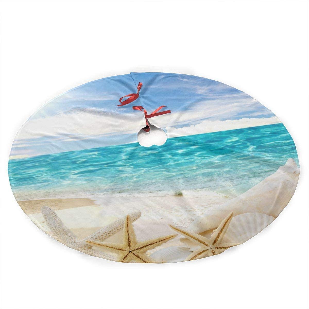 ADELBERT HENDEICKSO Beach Sand Shells White Starfish Novelty Christmas Tree Skirt 35.5