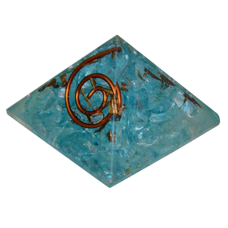 Aquamarine Crystal Orgone Pyramid EMF Protection Energy Generator Orgonite Pyramid