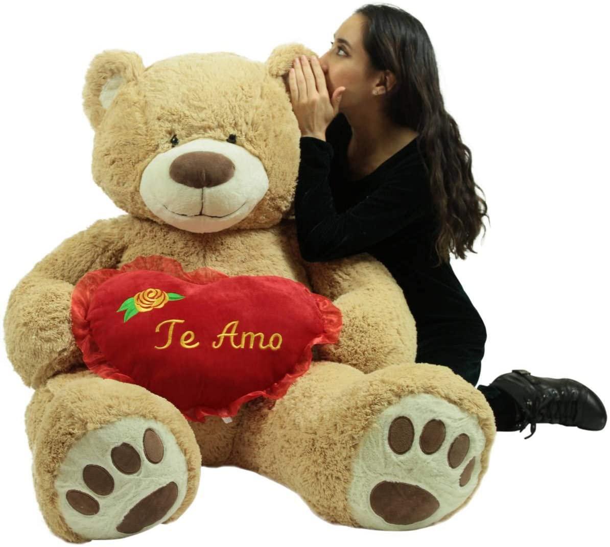Big Plush Te Amo Giant Teddy Bear 5 Foot Soft Teddybear Romantic Holds Heart Pillow to Show Love
