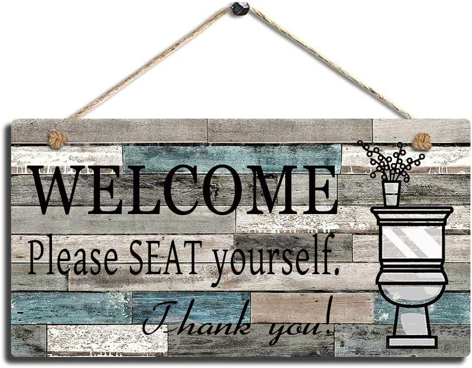 LWF Printed Wood Plaque Sign Wall Hanging Welcome Sign Please Seat Yourself Wall Art Sign Size 10 x 5